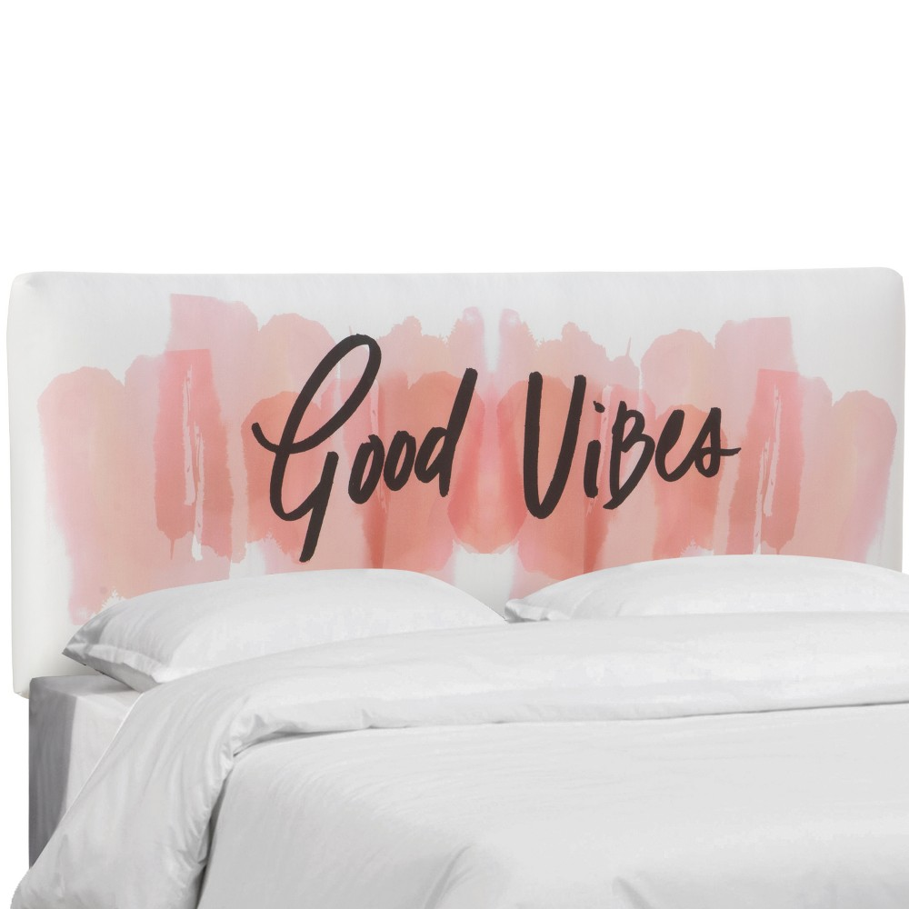 King Olivia Upholstered Headboard Good Vibes Blush - Cloth & Co.