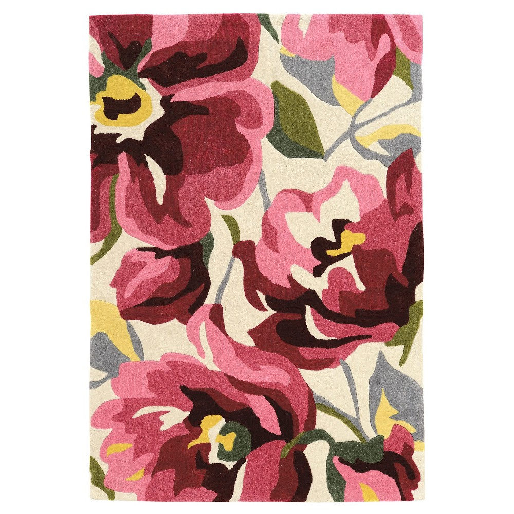Trio 405 Bold Floral Area Rug - Magenta / Ivory (5' X 7'), Pink