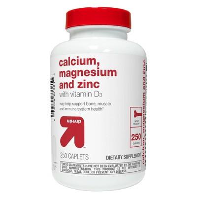 Calcium Magnesium & Zinc Dietary Supplement Coated Caplets - 250ct - up & up™