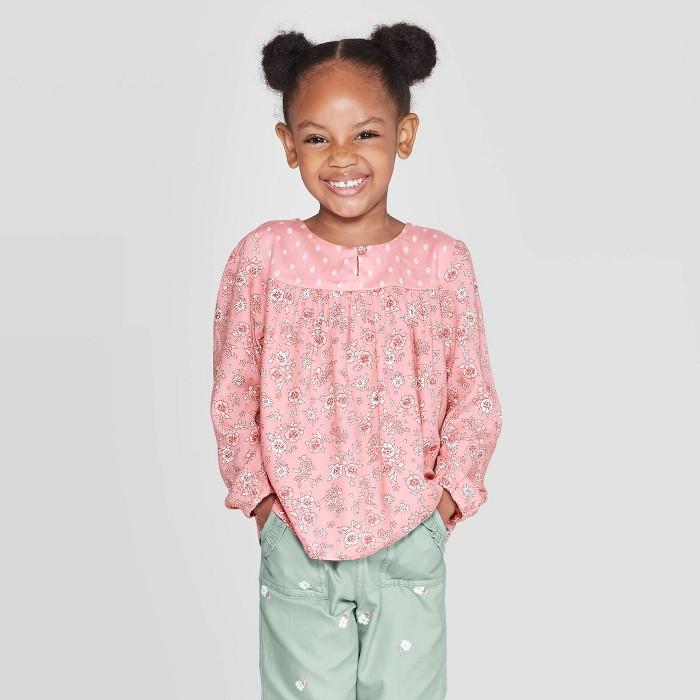 OshKosh B'gosh Toddler Girls' Floral Dot Long Sleeve Blouse - Pink - image 1 of 3