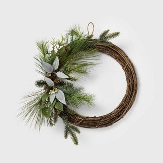 """24"""" LED Mixed Greenery Decorated Vine Artificial Christmas Wreath - Wondershop™"""