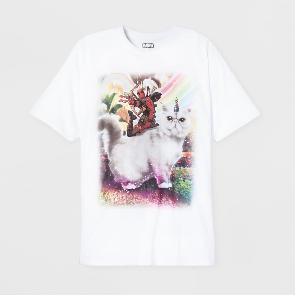 Men's Short Sleeve Marvel Deadpool Crew T-Shirt - White XL