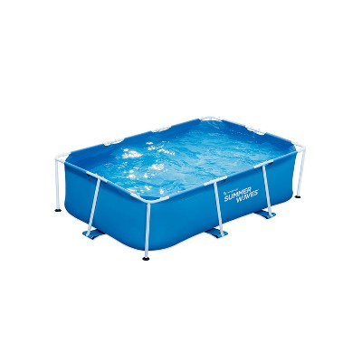 Summer Waves P30509260 8.5 x 5.25 Foot 26 Inch Deep Rectangular Small Metal Frame Above Ground Family Backyard Swimming Pool, Blue