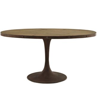 Drive 28u0022 Round Wood Top Dining Table Brown - Modway