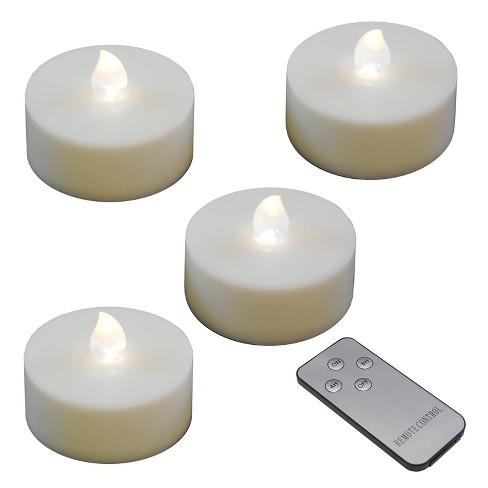 4ct Extra Large Battery Operated Led Tea Lights With Remote Control And 2 Timers White