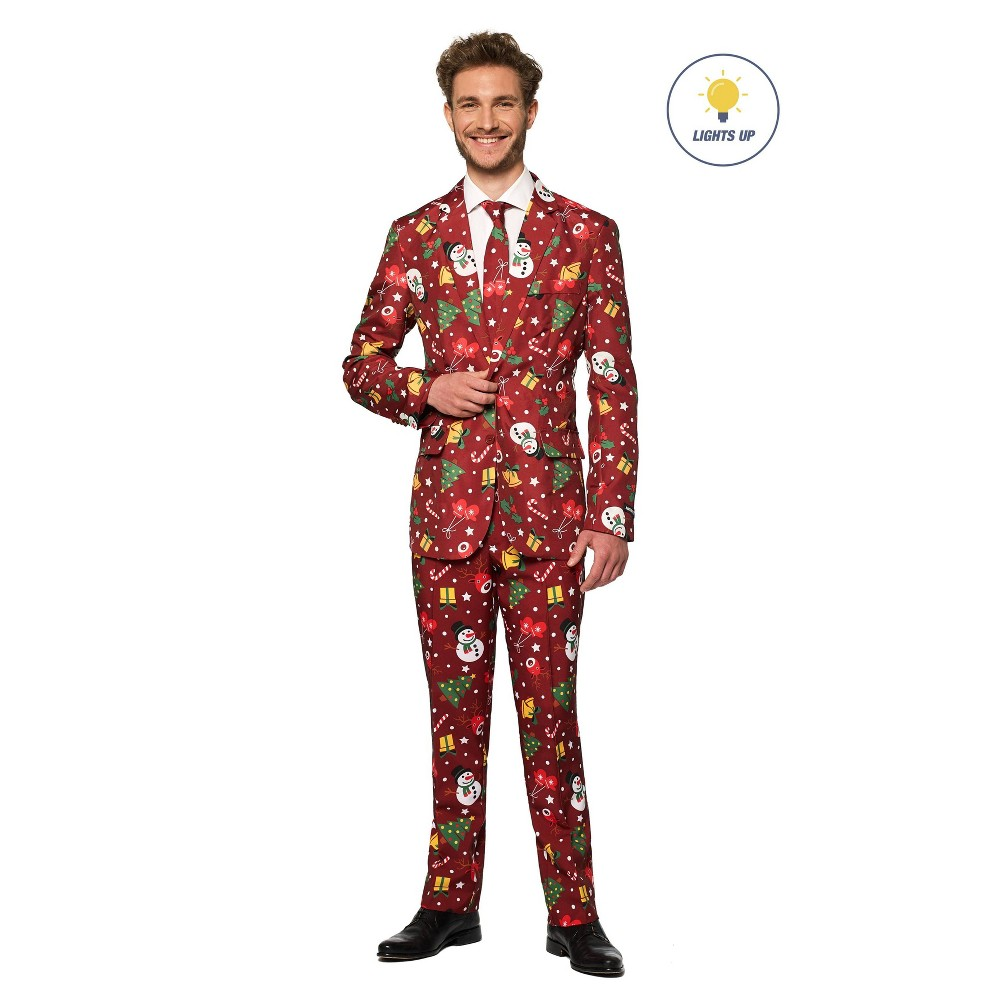 Image of Halloween Men's Light-Up Christmas Icons Costume Suit L, Men's, Size: Large, Red