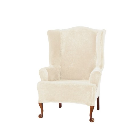 Astounding Stretch Plush Wing Chair Slipcover Cream Sure Fit Ibusinesslaw Wood Chair Design Ideas Ibusinesslaworg