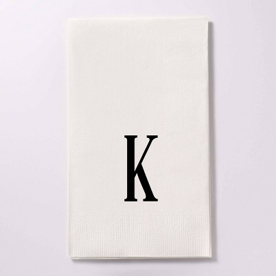 """50ct 4.25""""x8"""" Personalized Lettering 3 Ply Guest Napkins"""
