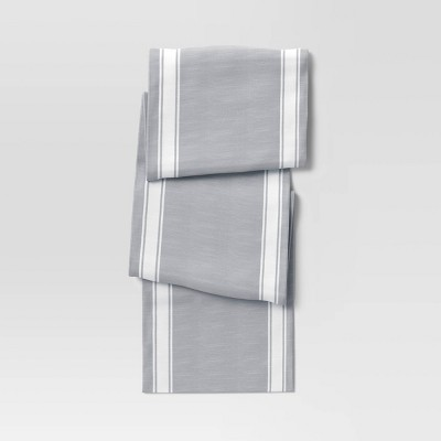 "108"" x 14"" Cotton Striped Bistro Table Runner Gray - Threshold™"
