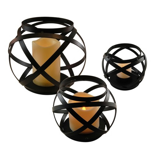 Set of 3 Banded Metal LED Lanterns With Battery Operated Candle Black - LumaBase - image 1 of 10