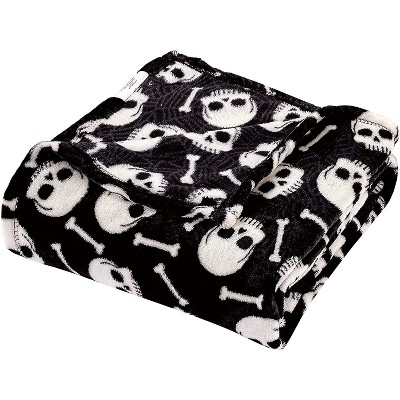 Kate Aurora Ultra Soft & Cozy Halloween Skulls & Webs Ultra Plush Throw - 50 in. W x 60 in. L