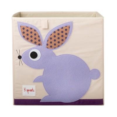 3 Sprouts Large 13 Inch Square Children's Foldable Fabric Storage Cube Organizer Box Soft Toy Bin, Purple Bunny Rabbit