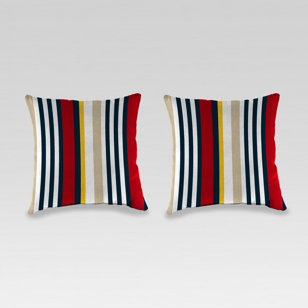 Outdoor Set of 2 Accessory Toss Pillows - White/Red - Jordan Manufacturing