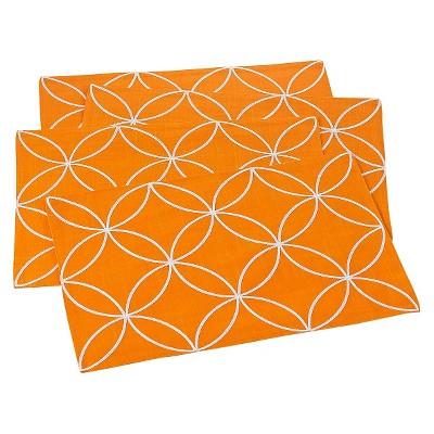Stitched Tile Design Placemats Tangerine (Set of 4)
