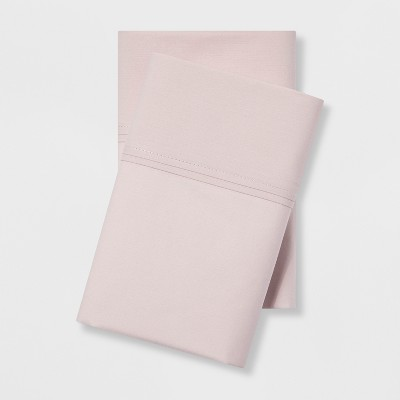 Standard 300 Thread Count Organic Cotton Solid Pillowcase Pair Petal Pink - Threshold™