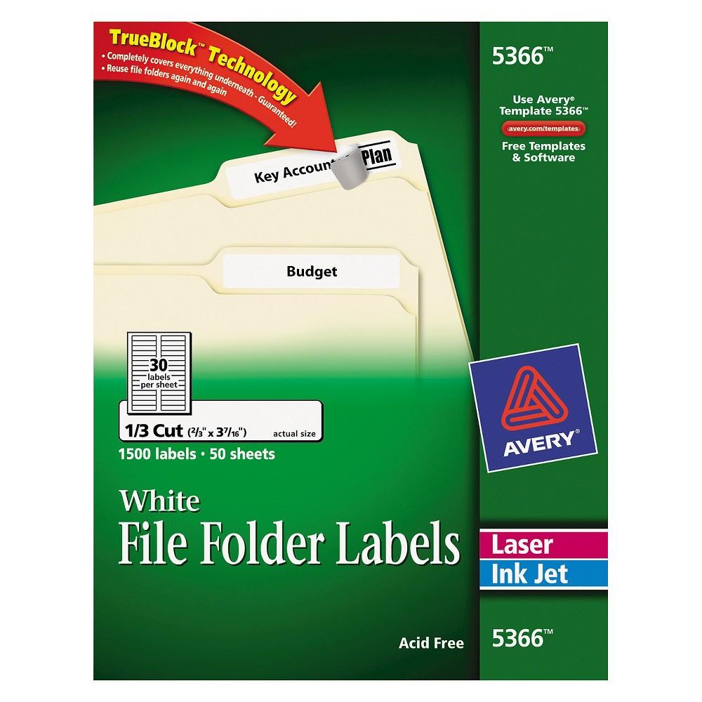 Avery Permanent Self-Adhesive Laser/Inkjet File Folder Labels, White, 1500/Box