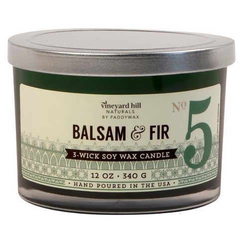 Glass 3-Wick Candle Balsam & Fir 12oz - Vineyard Hill Naturals by Paddywax® - image 1 of 1