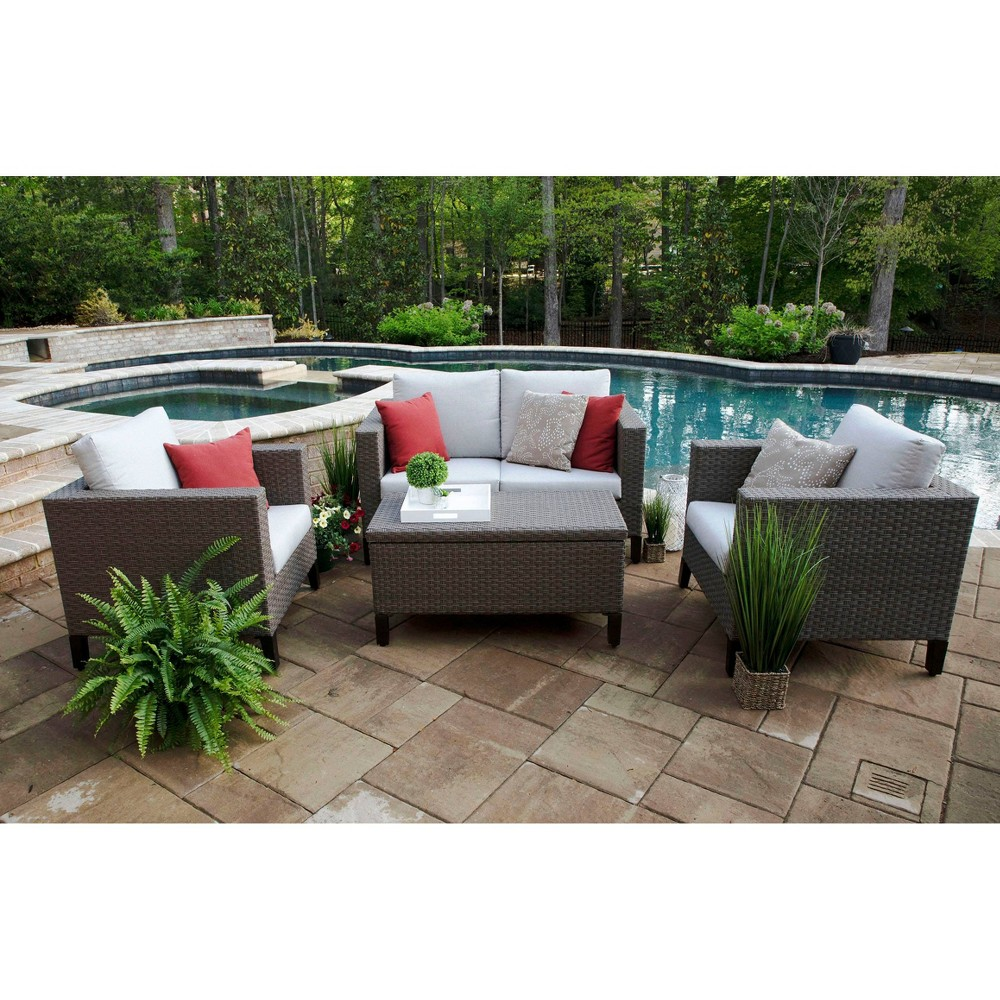 Image of Laurel 4pc Sunbrella Deep Seating Set Gray - Canopy Home and Garden