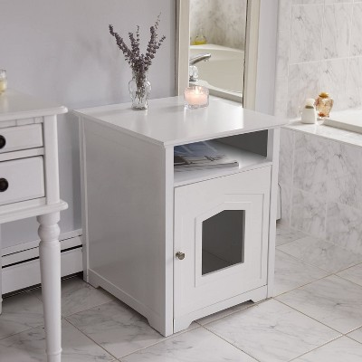 Arf Pets Designer Enclosed Cat Litter Box Furniture House with Table, Cat Washroom Hidden House Enclosure, White