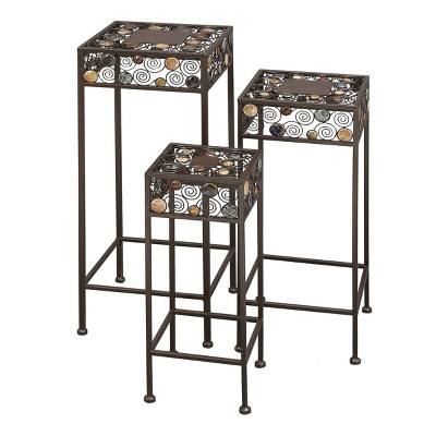 Set of 3 Metal and Ceramic Square Plant Stand with Bead Detailing Black - Olivia & May
