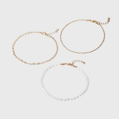 Pearl Anklet Set 3pc - A New Day™ Gold