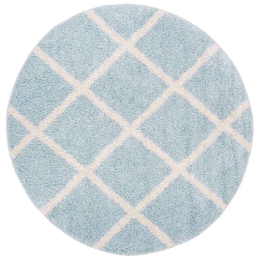 6'7 Geometric Loomed Round Area Rug Blue/Ivory - Safavieh