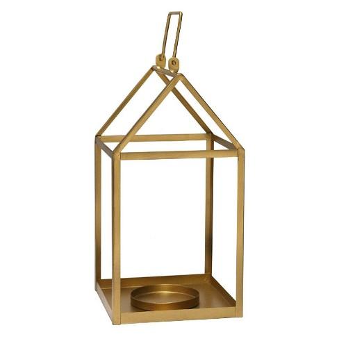 "7.5"" x 17.25"" Open Face Lantern Gold - Stratton Home Décor - image 1 of 4"