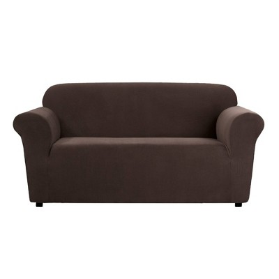 Stretch Micro Check Loveseat Slipcover Chocolate - Sure Fit