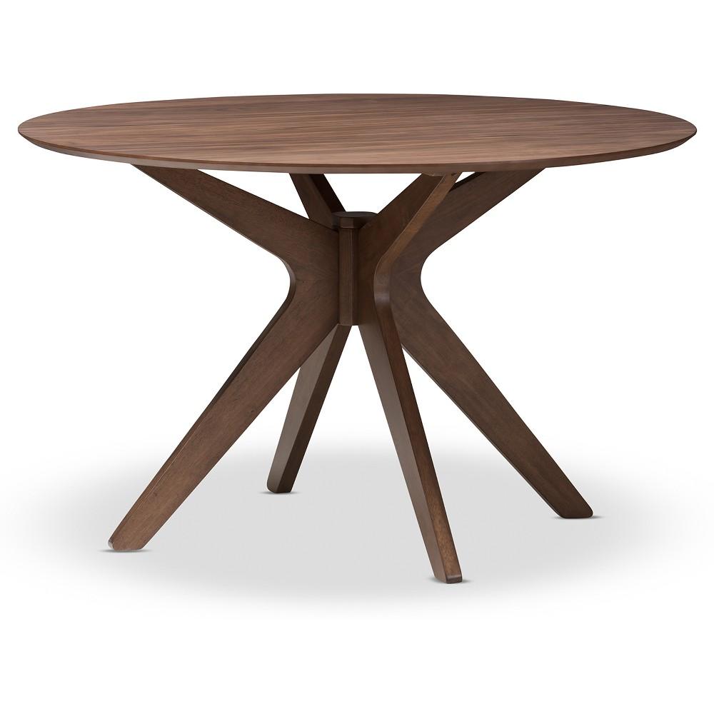 Monte Mid Century Modern Wood Finish 47 Inch Round Dining Table Walnut Brown Baxton Studio