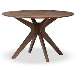 "Monte Mid - Century Modern Wood Finish 47 - Inch Round Dining Table - ""Walnut"" Brown - Baxton Studio"
