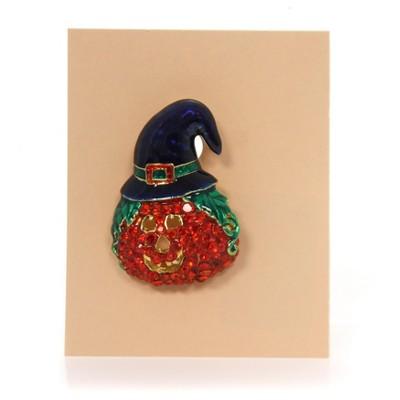 "Jewelry 1.75"" Pumpkin Face Pin Halloween Hat Brooch  -  Costume Jewelry"
