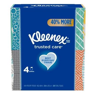 Kleenex Trusted Care Facial Tissue - 4pk/70ct