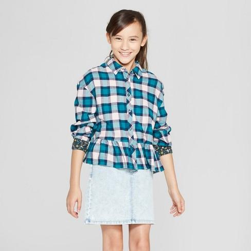 82a5bc6594ece3 Girls  Long Sleeve Plaid Peplum Tunic - art class™ Green   Target