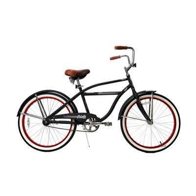Columbia 24  Tybee Vintage Single Speed Cruiser Men's Bike - Black/Red