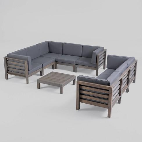Oana 9pc Acacia Wood Sectional Sofa Set Gray/Dark Gray - Christopher Knight  Home