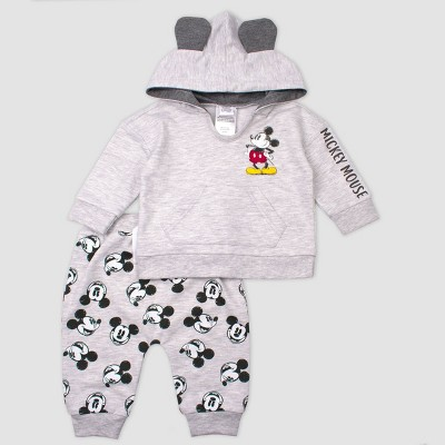 Baby Boys' Mickey Mouse 2pc Fleece Set - Gray 3-6M