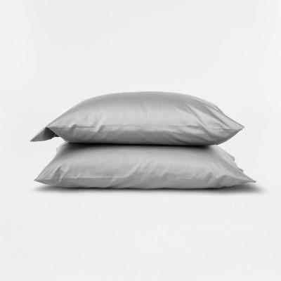 Standard 500 Thread Count Washed Supima Sateen Solid Pillowcase Set Light Gray - Casaluna™