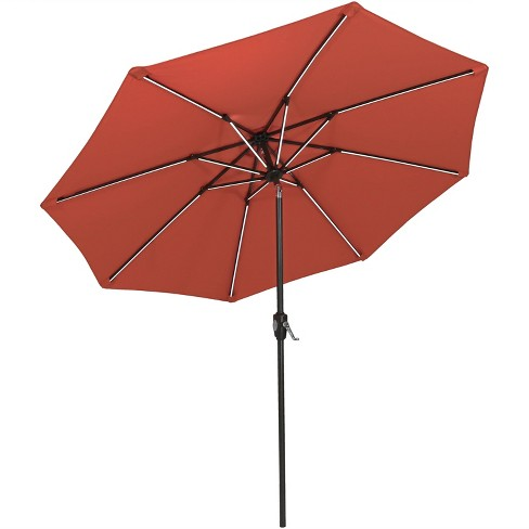 Aluminum Market Tilt Solar Patio Umbrella 9' Fade-Resistant - Rust Orange - Sunnydaze Decor - image 1 of 4