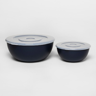 Plastic 2pc Mixing Bowl Set with Lid Blue - Room Essentials™
