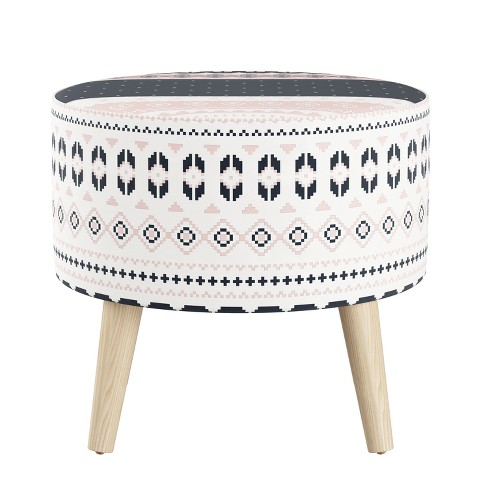 Strange Round Ottoman With Splayed Legs Nordic Sweater Navy Blush Skyline Furniture Gmtry Best Dining Table And Chair Ideas Images Gmtryco