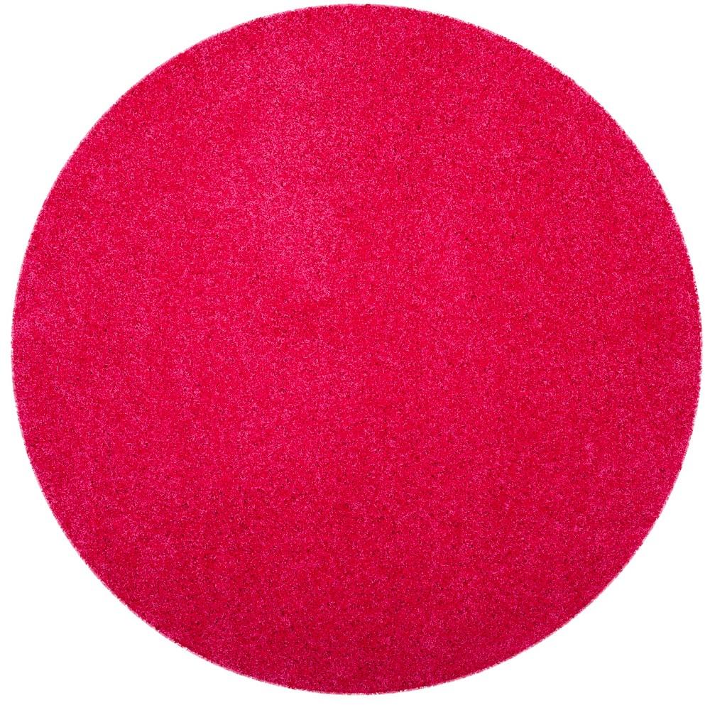 6'7 Solid Loomed Round Area Rug Fuchsia/Light Gray (Pink/Light Gray) - Safavieh