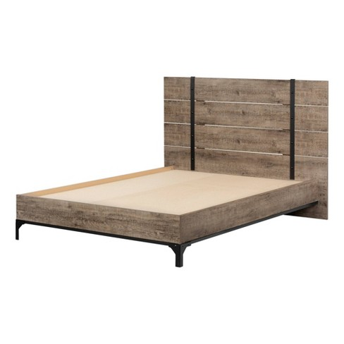 Valet Platform Bed with Headboard Weathered Oak - South Shore - image 1 of 4