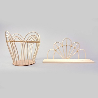2ct Rattan Decorative Basket and Decor Shelf Set - Bullseye's Playground™
