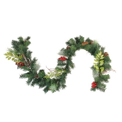 "Northlight 6' x 9"" Unlit Frosted Pinecone and Berry Artificial Christmas Garland"