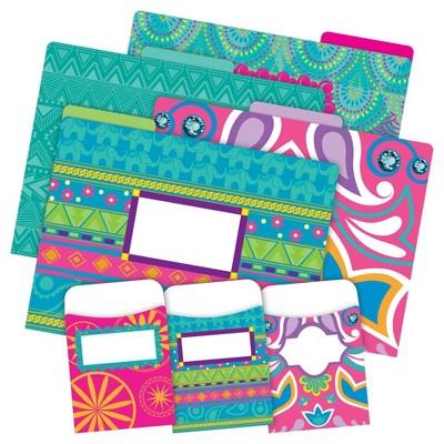 Barker Creek 12 Letter-Size File Folders & 30 Adhesive Pockets Set - Bohemian