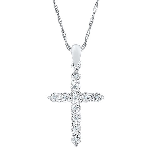 Diamond Accent Round White Diamond Cross Pendant In Sterling Silver ... d7d37b235