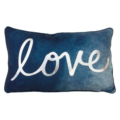 Love Lumbar Throw Pillow Blue - Décor Therapy