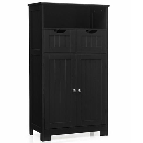 Costway Bathroom Floor Cabinet Wooden, Target Storage Cabinets Bathrooms