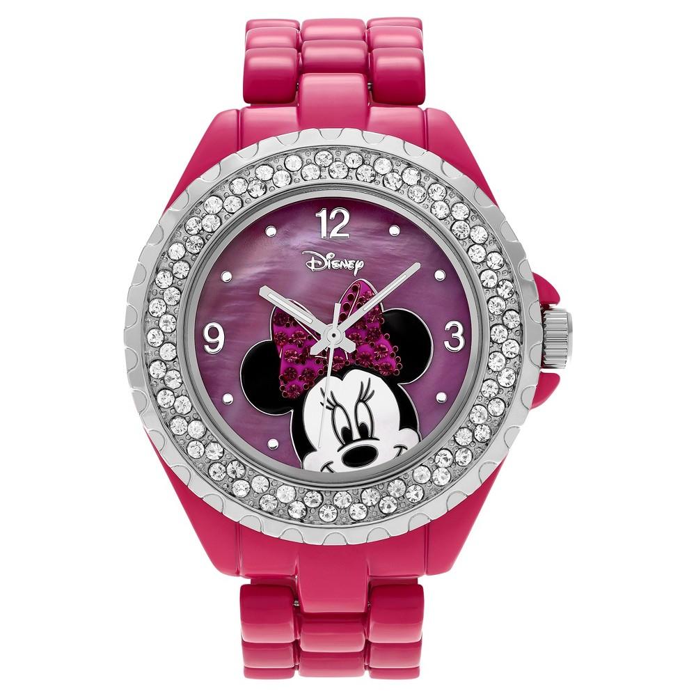 Women's Disney Minnie Mouse Dial Rhinestone Bezel Link Bracelet Watch - Pink