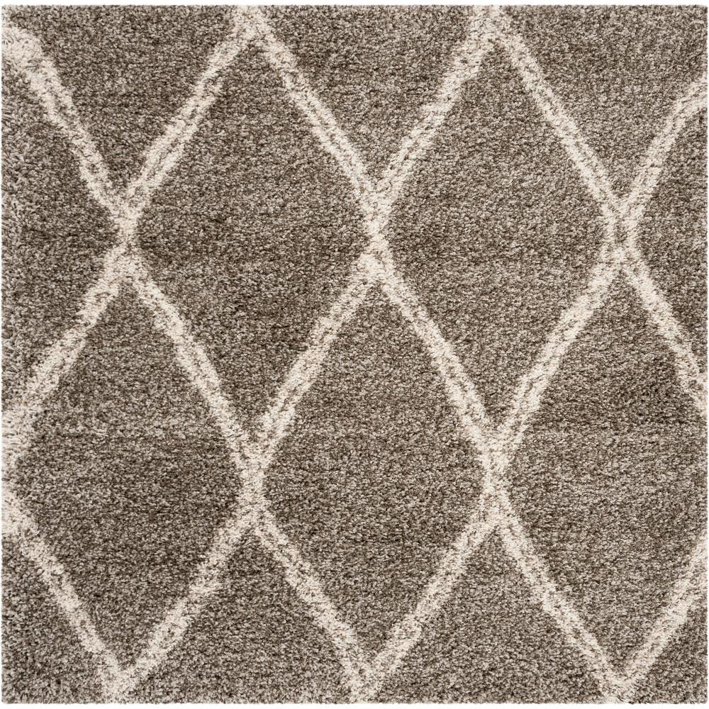 5'X5' Geometric Loomed Square Area Rug Gray/Ivory - Safavieh